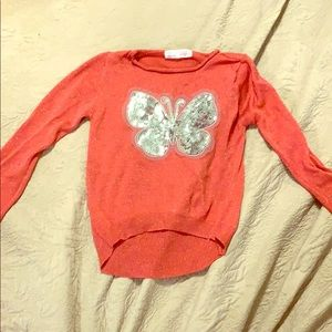 Sparkly pink butterfly long sleeve t-shirt